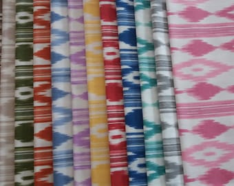 Fabric tongues mallorquin colors, print ikat fabric majorca, curtain fabric upholstery bedding, fabric by the meter, fabric typical Mallorca