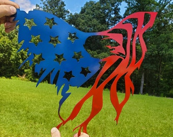 American flag eagle metal sign