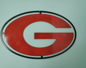 Red and Black Georgia G metal sign