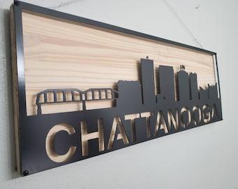 Chattanooga skyline offset on wood