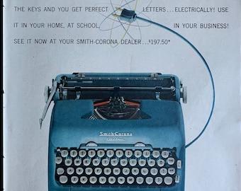 1955 Blue Smith Corona Typewriter Silent Super  Professionally Serviced  Blue Typewriter  Working Typewriter  Gifts for Writers
