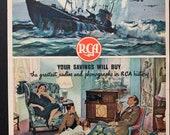 Vintage 1940s RCA Radio War Bonds Ad, WW2 Era