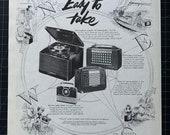 Vintage 1952 RCA Victor Portable Radio Print Ad