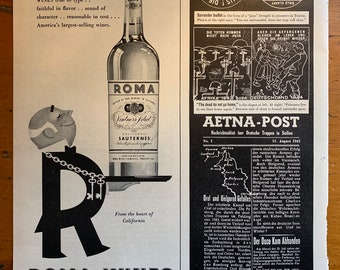 AD79 1940's Vintage Italian Vermouth Wine Advertisment Poster A1 A2 A3 A4