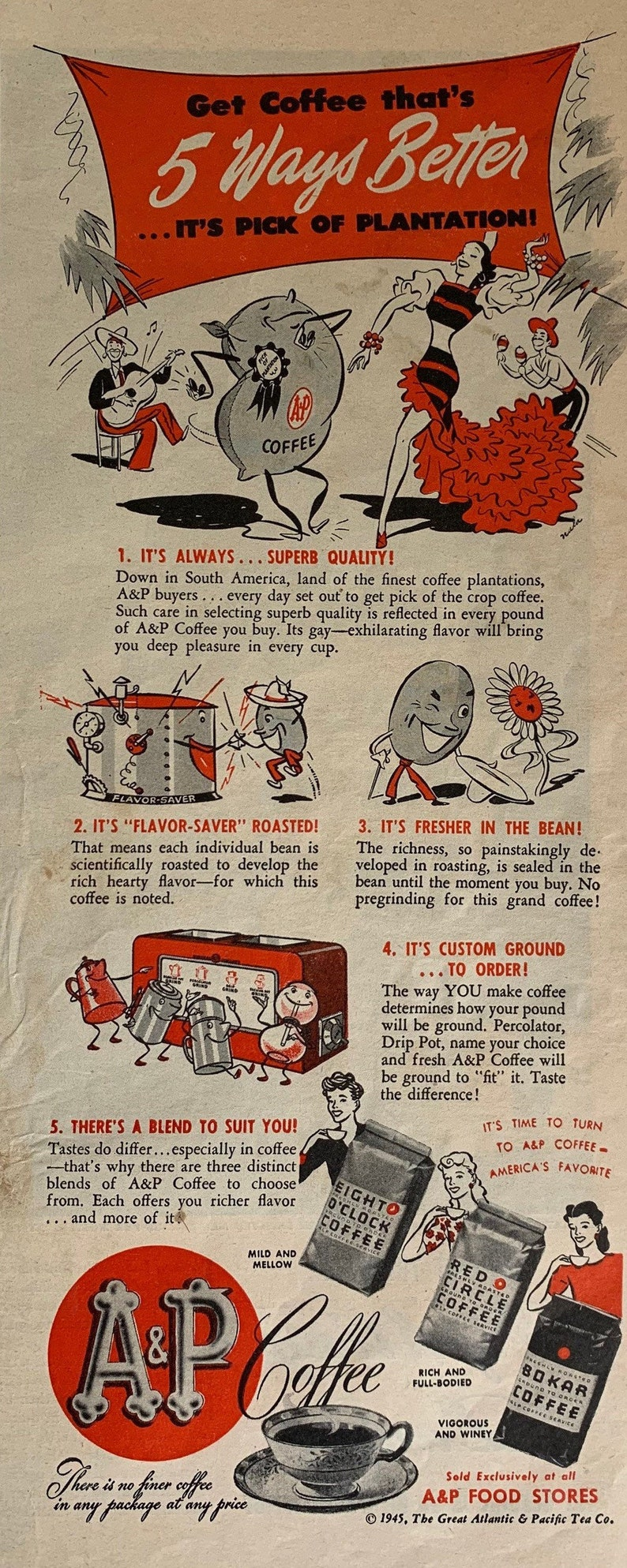 Eight O\u2019 Clock Coffee Ad Vintage 1945 A/&P Coffee
