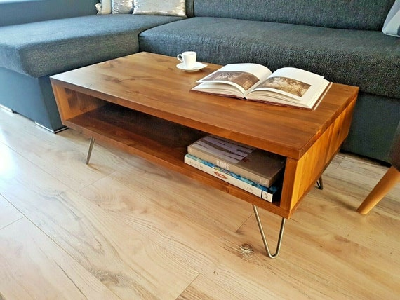 Coffee Table Rustic Mid Century Modern With Hairpin Legs Etsy
