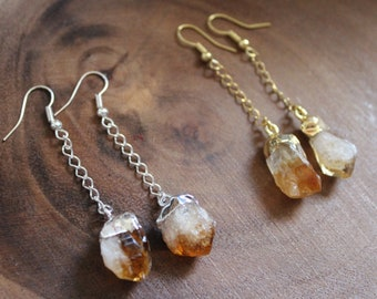 Raw Citrine Crystal Dangle Earrings, Gold Silver Plated Drop Earrings, Healing Crystal Earrings, November Birthstone Gifts, Natural Gemstone