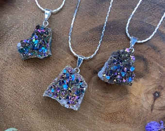 Druzy Amethyst Titanium Aura Quartz Necklace, Rainbow Aura Flame Quartz, Geode Crystal Cluster, Crystal Gift, Gemstone, Raw Crystal Pendant