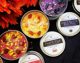 Stress Relief Candles, Soy Wax Hand-Poured Candles, Crystal Energy Candles, Healing Flower Candles, Spa Set Kit, Candle Holiday Gifts, Vegan