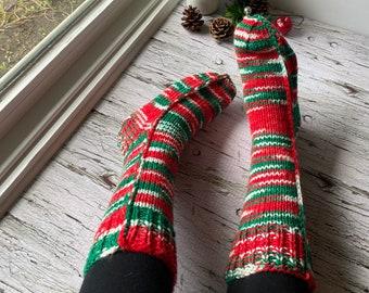Hand knit Christmas socks women's, thick warm winter socks, Christmas gifts