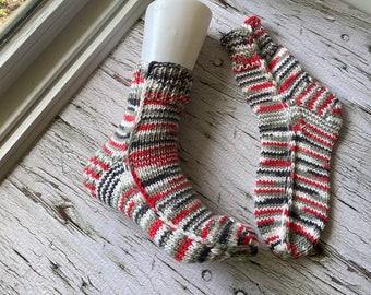 Hand knit socks men's, cozy reading socks, everyday slipper socks