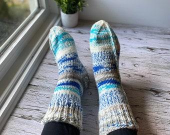 Hand knit Fair Isle women's socks, chunky everyday socks, warm and cozy slipper socks