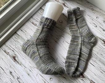 Hand knit men's cuff socks, warm everyday slipper socks, gifts for him