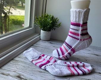 Hand knit socks women, size small women's, knitted acrylic socks, slipper slippers, pink striped socks