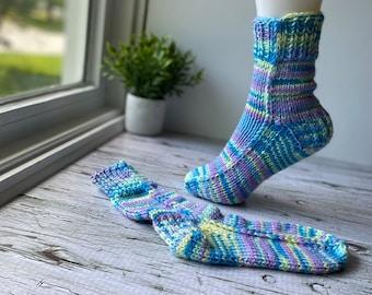 Hand knit socks women, size small, chunky everyday socks, slipper socks, colourful knit socks
