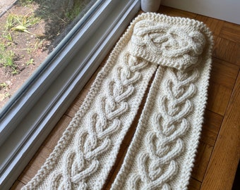 Hand knit cable heart scarf, white chunky knitted scarf women, handmade winter gifts