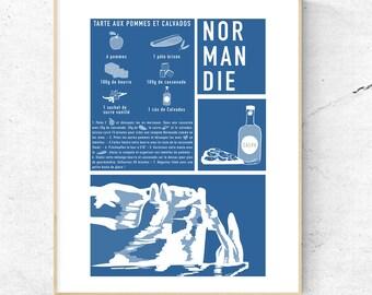 Poster - Norman Recipe - Format A5 - Cliffs of Etretat