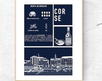 Poster - Corsican recipe - Port of Ajaccio