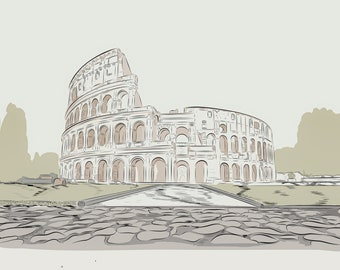 Ancient Colosseum - Re-enactment in illustration - SVG - PNG