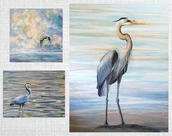 Heron paintings, prints by Veronica Newell, Canadian art, great blue heron, beach painting