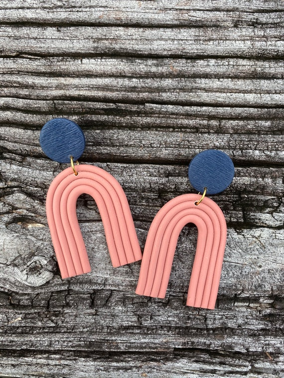 Statement Earrings  Clay Earrings  Clay Arch Earrings