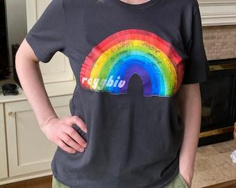 REDUCED PRICE: ROYGBIV Rainbow 100% cotton Dark Grey T-shirt, Unisex shirt, Art shirt
