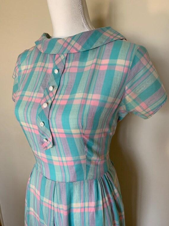 Vintage dress womens 50's pink & blue plaid dress