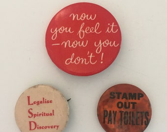 Bald is Beautiful Button, Hippie Boho Pins 9 Pin Back Button Pins from 1970s Backpack Clothing Accessories
