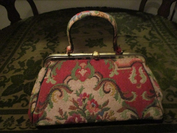 Vintage Wool Tapestry-Carpet Bag