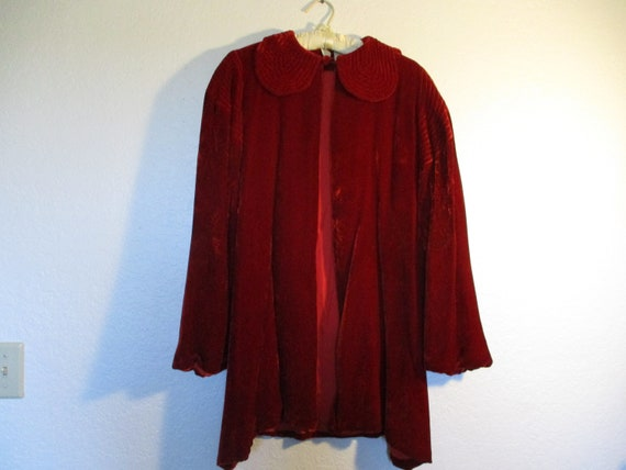 1930's Red Silk Velvet Opera Jacket
