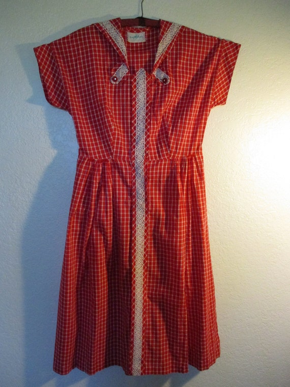 Kay Whitney red with white plaid 1940's day dress