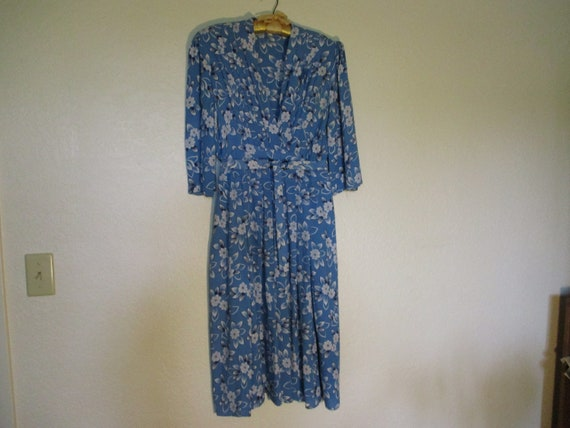 1930's Crepe Blue Dress with White Floral Print