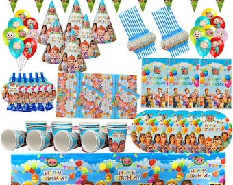 Cocomelon Party Theme Tableware Home Decorations Birthday Party Supplies Paper Plates Cups Tablecloths Napkins Cake Topper Kids Dinnerware