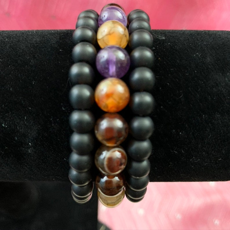 lava natural dragon vein agate glass beads silver color charms.