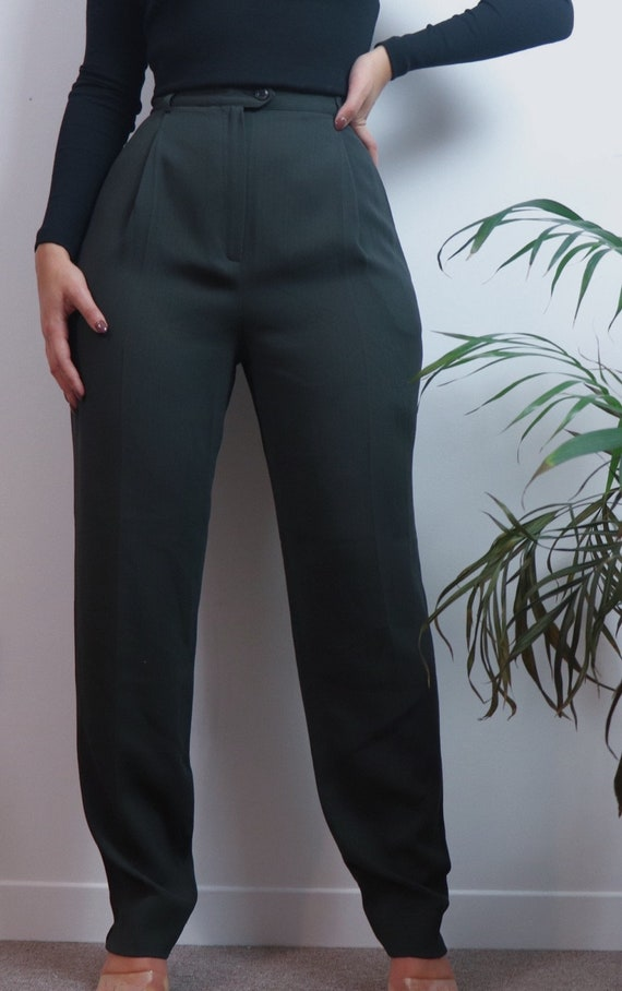 vintage 90s pants / high waisted trousers / green