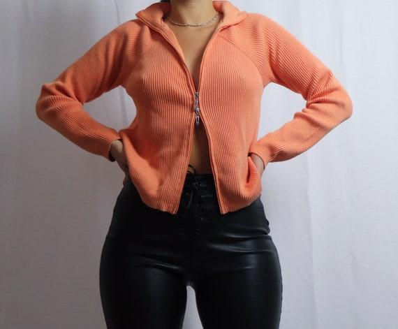vintage 90s Liz Claiborne orange double zipper sw… - image 10