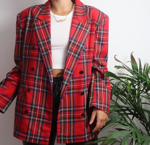 Red Vintage 80s Blazer Double Breasted Blazer Plai