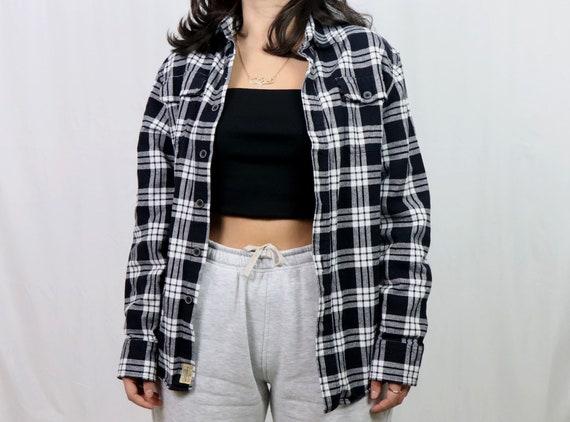 black and white flannel shirt / plaid shirt women