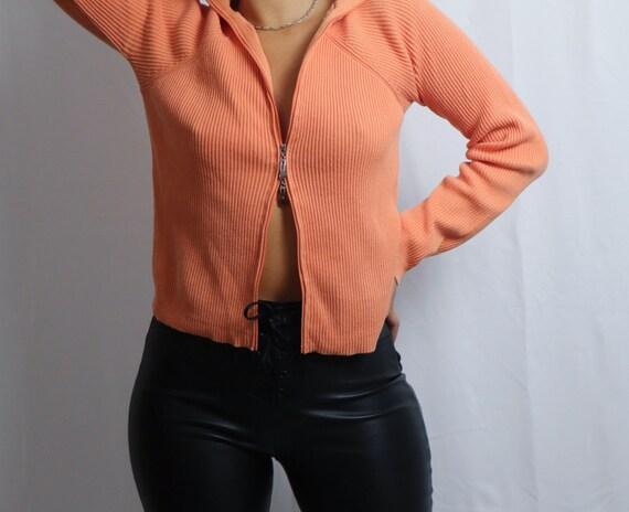 vintage 90s Liz Claiborne orange double zipper sw… - image 4