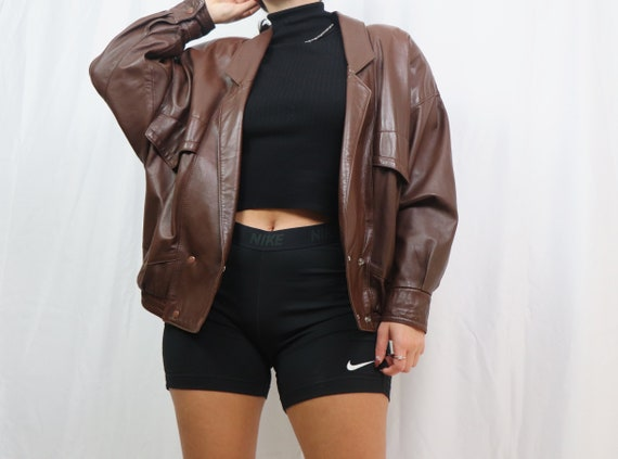 vintage 90s brown leather jacket / bomber jacket /