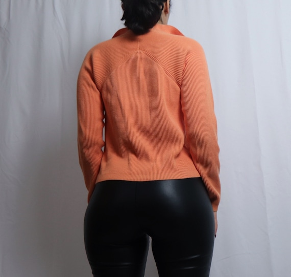 vintage 90s Liz Claiborne orange double zipper sw… - image 2