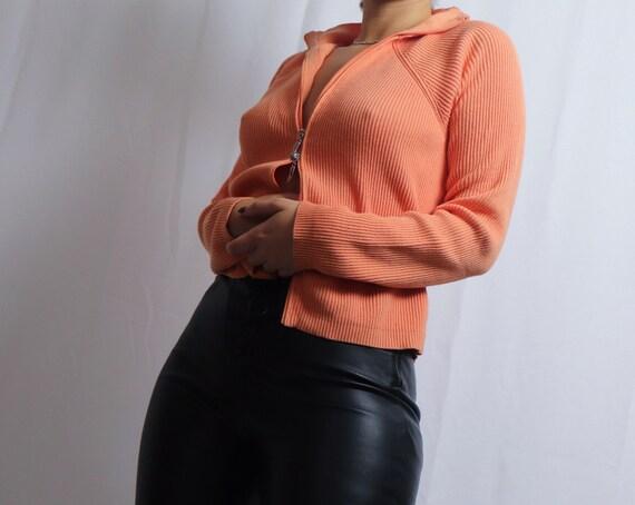vintage 90s Liz Claiborne orange double zipper sw… - image 8