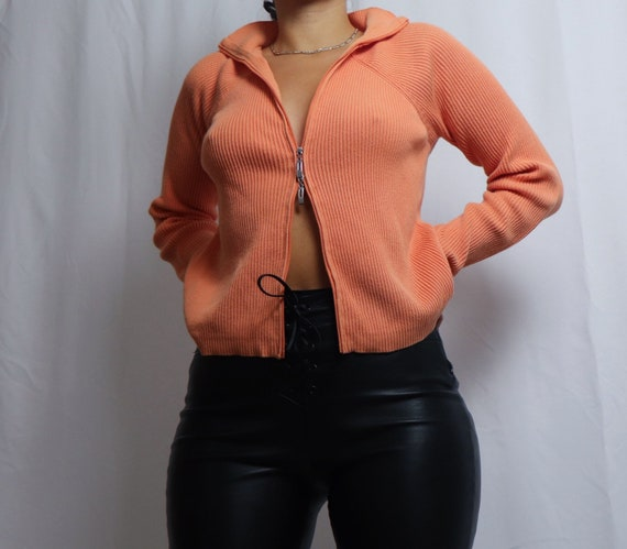 vintage 90s Liz Claiborne orange double zipper sw… - image 7