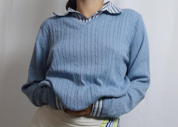 vintage 90s blue sweater / acrylic sweater / blue