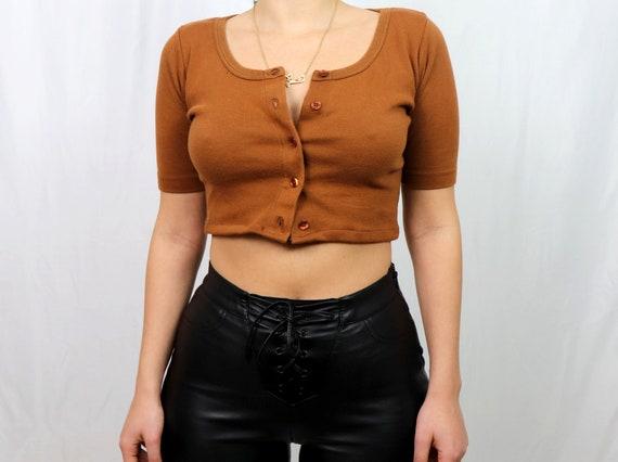 reworked brown cropped cardigan / cardigan women /