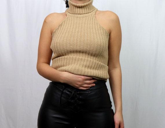 reworked sleeveless knit sweater / turtleneck swea