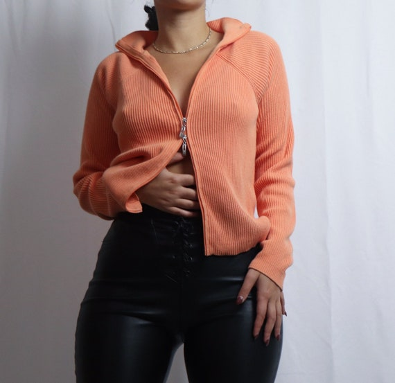 vintage 90s Liz Claiborne orange double zipper sw… - image 6