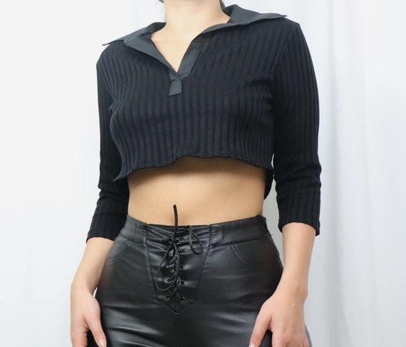 reworked black crop top / black crop top women / u