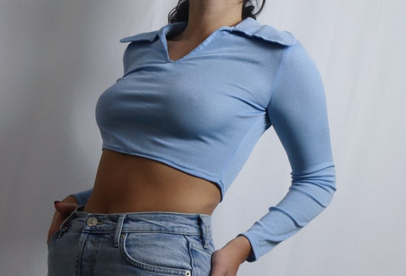 reworked blue crop top / cropped long sleeve / lon