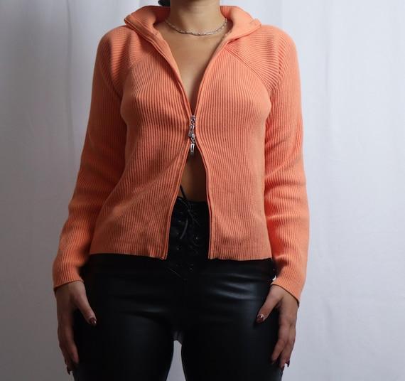 vintage 90s Liz Claiborne orange double zipper sw… - image 5